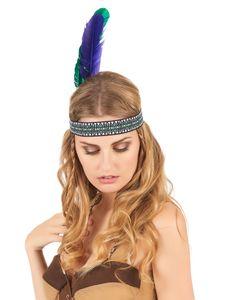 Indianer Kopfschmuck Haarband Federn grün-lila