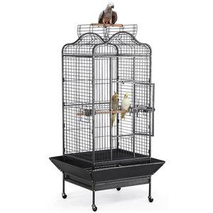 Yaheetech Käfig Vogelvoliere Vogelkäfig Vogelhaus Tierkäfig mit Rollen