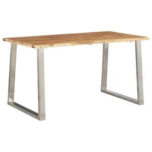 dereoir Esstisch 140×80×75 cm Akazie Massivholz und Edelstahl