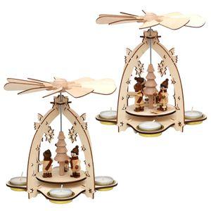 52 0505 Holz Teelichtpyramide Winterfiguren SIGRO