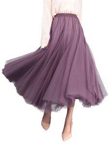 Damen Faltenrock elastisch hoher Taillenrock halblanger Rock,Farbe: Violett,Größe:Einheitsgröße