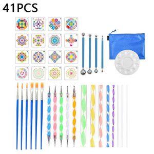 41pcs Kunst Liefert Mandala Punktierung Werkzeuge Schablone Malerei Werkzeug Kits Pinsel Tablett