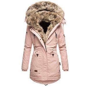 Frauen Winter Langarm Einfarbig Hooded Baumwolle Padded Coat Oberbekleidung Größe:L,Farbe:Rosa
