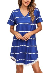 Damen Sommer kurzärmelige T-Shirt gestreifte Freizeitkleid,Farbe: Blau,Größe:5XL