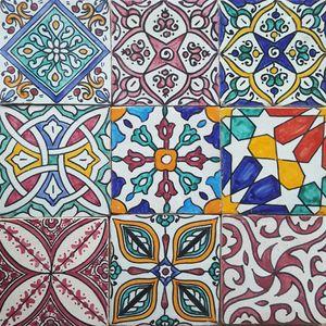 Casa Moro Handbemalte Fliesen Bunt Mix 9 Stück marokkanische Fliesen Patchwork | Kunsthandwerk aus Marokko | Wandfliesen für schöne Küche Dusche Badezimmer | HBF8410