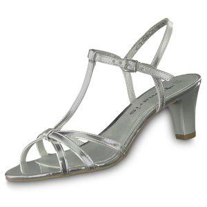 Tamaris Damen Riemchensandale Silber Schuhe, Größe:37