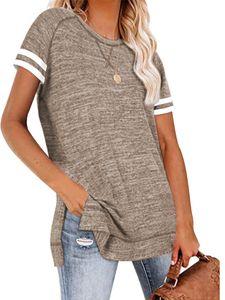 Langes lässiges Pullover-Sweatshirt mit geteiltem Saum und lockerem Stepphemd für Dame,Farbe: Khaki,Größe:L