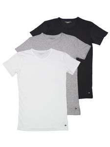 TOMMY HILFIGER Herren T-Shirt Halbarm 3er Pack Stretch weiß/grau/schwarz Größe XXL