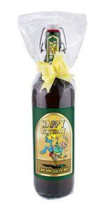 Happy Birthday 1 Liter Flasche mit Bügelverschluss (mit Geschenkfolie & Schleife)