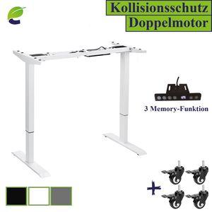 ecoMI - Tischgestell Höhenverstellbarer Schreibtisch Elektrisch 2 Motoren Memory-Steuerung Doppelmotorrahmen Höhe einstellbar 73 - 123 cm - Weiß