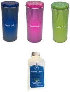 Vorratsdose für Kaffeepads - Kaffeedose für Kaffeepads - blau pink grün Aufbewahrungsbehälter für Kaffeepads + Konzentrat (flüssig) für Kaffeevollautomaten und Haushaltsgeräte, 1 x 250ml