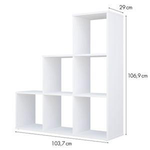 Polini HomeTreppenregal Stufenregal Raumteiler Regal weiß 6 Fach