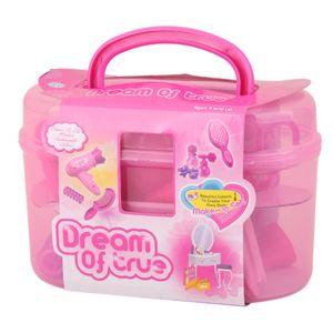 Mädchen Spielzeug Kosmetiktasche Schönheit Kosmetik Fön Kamm Spiegel Rosa