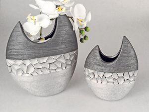 2er Set Deko Vasen MODERN STONES oval H. 21cm + 28cm silber grau Keramik Formano