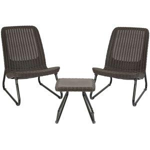 Allibert-Gartenmöbelset Rio Patio 2 Stühle Tisch Rattaneffekt braun