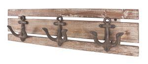 HAKU Garderobenleiste aus Massivholz in mit 3 Garderobenhaken, vintageoptik braun, BxTxH: 50x7x14 cm; 28912