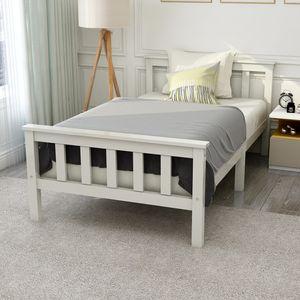 Holzbett Einzelbett, 90 x200 Bett Massivholzbett Mit Lattenrost & Kopfteil, Komfortbett mit Rückenlehne, weiß