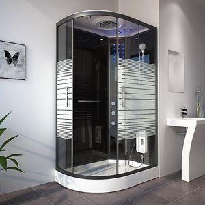 HOME DELUXE - Dusche Black PEARL (Cr) 120x80 cm (links) Duschkabine Duschtempel Regendusche Komplettdusche