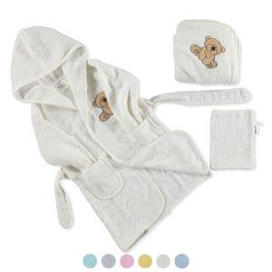 Baby Kleinkind Bademantel + Badetuch mit Kaputze Waschlappen 3 tlg, Set 0-36M, Farbe:Mint