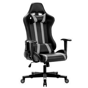 Gaming Stuhl, Racingstuhl, Bürostuhl, Drehstuhl, Racing Gamer Stuhl, Ergonomischer höhenverstellbar Schreibtischstuhl, Grau