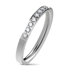 Eleganter Damen Ring aus Edelstahl | glänzende Zirkonia-Kristalle | Partnerring | Verlobungsring | Ehering  59 - Ø 18,95 mm