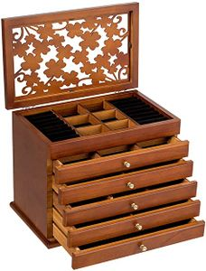 Schmuckkasten aus Holz, Schmuckschatulle Kosmetikkoffer Schmuckkoffer mit Grossem Stauraum, Schmuckaufbewahrung mit 5 Schubladen, Spiegel und Vintage Muster