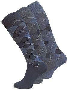 Cotton Prime® Comfort KNIESTRÜMPFE 3 Paar, mit Karos 43-46 blau