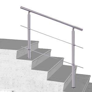 Treppengeländer Edelstahl Geländer Balkongeländer, 100cm, mit 2 Querstäbe, Handlauf für Innen Außen