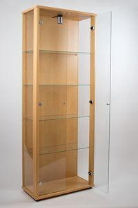 VR-Wohnideen Glasvitrine in Buche (176x67x33 cm) mit 4 höhenverstellbaren Glasböden aus ESG; beleuchtet; perfekt für Sammler;