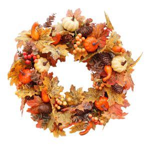 Herbst Ahornblatt Beere Blumenkranz Tür Wanddekoration für Halloween Festival Farbe Tippe A