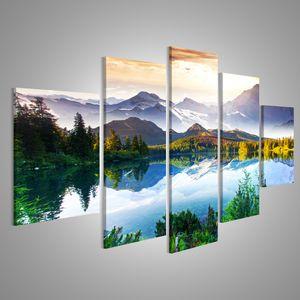 Bild Bilder auf Leinwand XXL Bild Poster Leinwandbild Wandbilder Kunstdruck 5-teilig AWF See Landschaft Berge