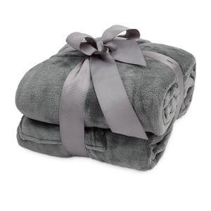 Lumaland TV Kuscheldecke mit Ärmeln aus weichem  mit Handytasche 150 x 180 + 35 cm Fußtasche grau