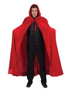 Samt-Umhang rot Teufel Cape Vampir Teufelsumhang  Halloween Karneval Kostüm
