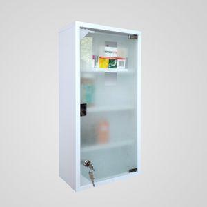 Natsen Medizinschrank Edelstahl 4 Ebenen 60x30x12 cm Erste Hilfe Schrank mit Schloss Medikamentenschrank abschließbar Weiss