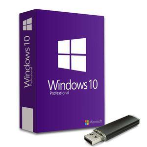 Microsoft Windows 10 Pro Key Lizenz Vollversion 32/64 Bit + Recovery USB Bootfähig