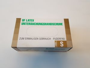 Latexhandschuhe 100 Stück Box (Größe S) Einweghandschuhe, Einmalhandschuhe, Untersuchungshandschuhe, Latex Handschuhe, puderfrei, unsteril