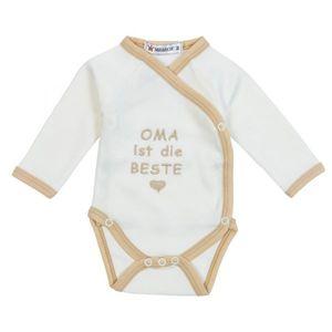 """Milarda Baby Body Wickelbody """"OMA ist die BESTE"""", creme-braun, Gr. 50-74 Größe - 56"""