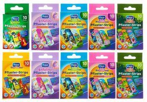100 Stück FIGO Kinderpflaster verschiedene Motive, 10 Packungen + 1 Notizblock