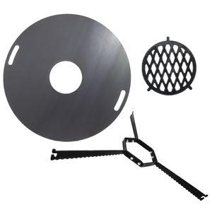 Komplettset Feuerplatte 80cm + Abstandshalter + Grilleinsatz BBQ Grill Plancha Starter Set #200