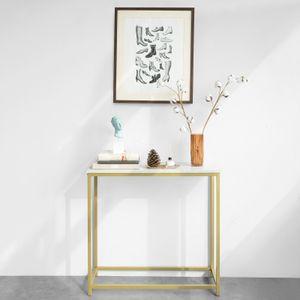 SoBuy FSB29-G Konsolentisch mit goldenem Metallrahmen Flurtisch Dekotisch Sideboard Beistelltisch Wohnzimmer Eingangsbereich