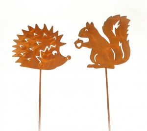 Dekostecker 'Igel und Eichhörnchen' Metall rost 2er-Set