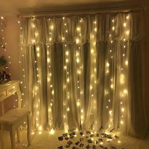 LED Lichterkette 240 LED Lichtervorhang Sternenvorhang 8 Modi lichterkette Dekoration für Weihnachten Party Warmweiss