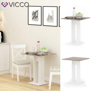 VICCO Esstisch EWERT Küchentisch Esszimmer Säulentisch weiß Sonoma Eiche 65x65