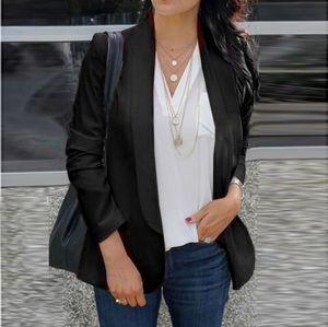 Frauen Langarm Blazer Open Front Cardigan Anzug Jacke Arbeit Büro Strick Blazer Größe:XXXL,Farbe:Schwarz