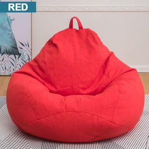 NEUFU Sitzsack Stühle Couch Sofabezug Lazy Lounger Sofa Sitzsack Stuhlbezug für Kinder und Erwachsene, kein Füllstoff, Rot 70x80cm