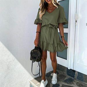 Damen V-Ausschnitt Einfarbig Drapiert charmant Kurzarm Kurze Drees Größe:XL,Farbe:Grün