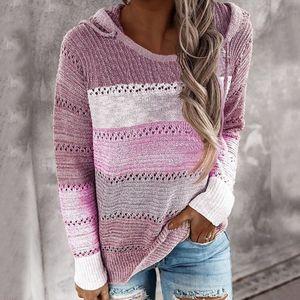 Damen Kapuze Leichte Strickpullover Langarm Streifen Pullover Sweatshirt Top SFW200817312 Größe:L,Farbe:Lila