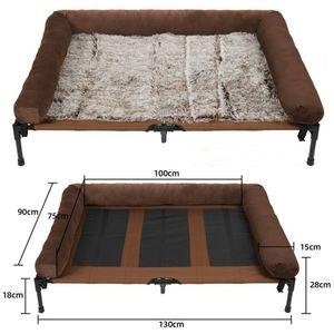 UNHO LUXUS Hundeliege 130x90x28cm bis 80kg, Outdoor Relaxliege  erhöhtes Hundebett mit Plüsch Matte