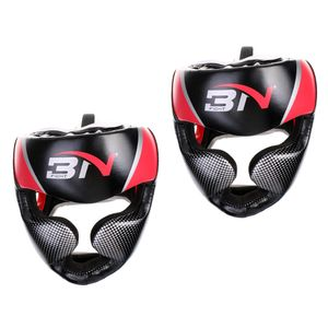 2 Teiliger Kunstleder Boxkopfschutz Verstellbarer MMA Sparring Helmschutz