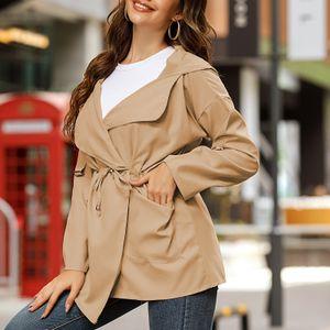 Frauen Mittellanger Kapuzenmantel Langarm Einfarbige Seitentaschen Laessiger Fruehling Herbst Duenner Mantel[Khaki -M]